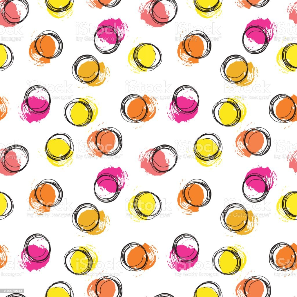 Vector colorful seamless pattern with brush blots and circle. Pink orange yellow black color on white background. Hand painted grange texture. Ink geometric elements. Fashion modern style. school vector art illustration