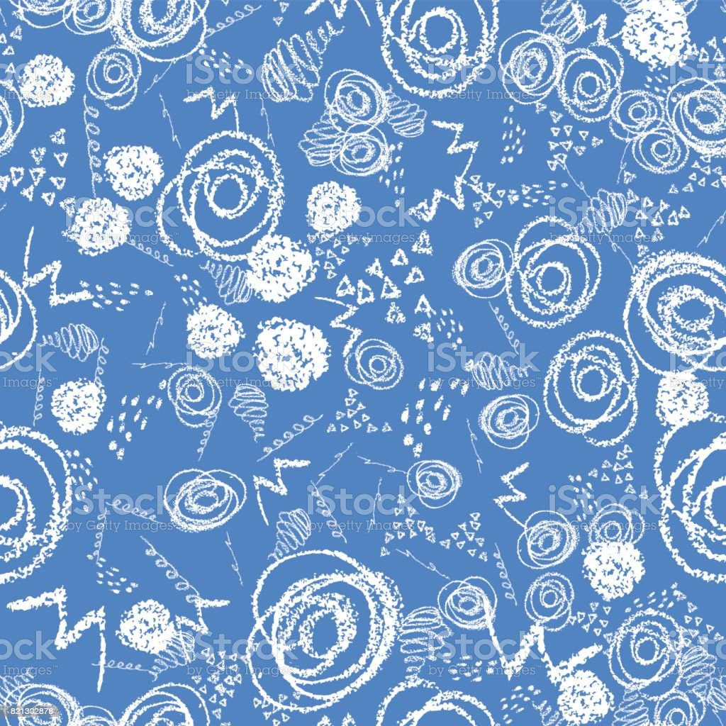 Vector colorful seamless pattern with brush blots and circles. White color on blue background. Hand painted grange texture. Ink geometric elements. Fashion modern style. Unusual teen and kid. vector art illustration