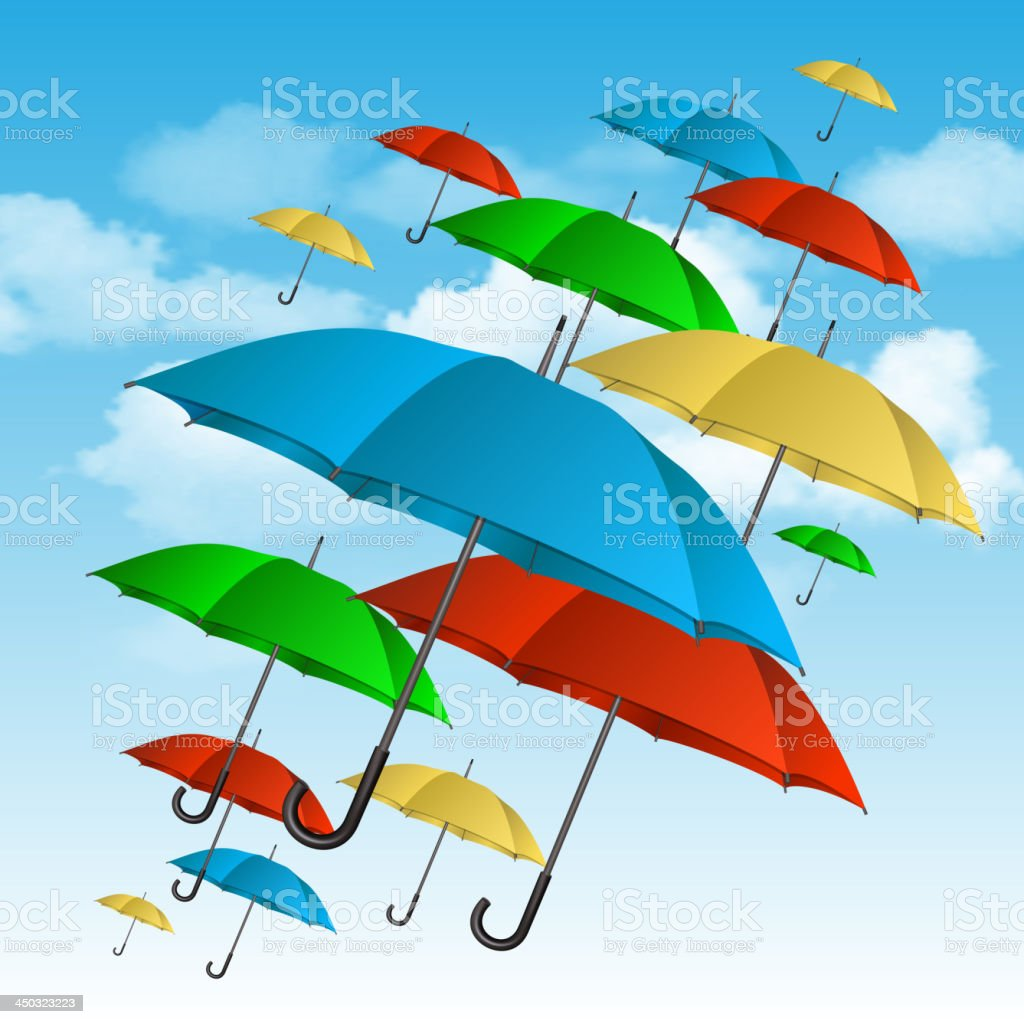 Vector colorful umbrellas flying high royalty-free stock vector art