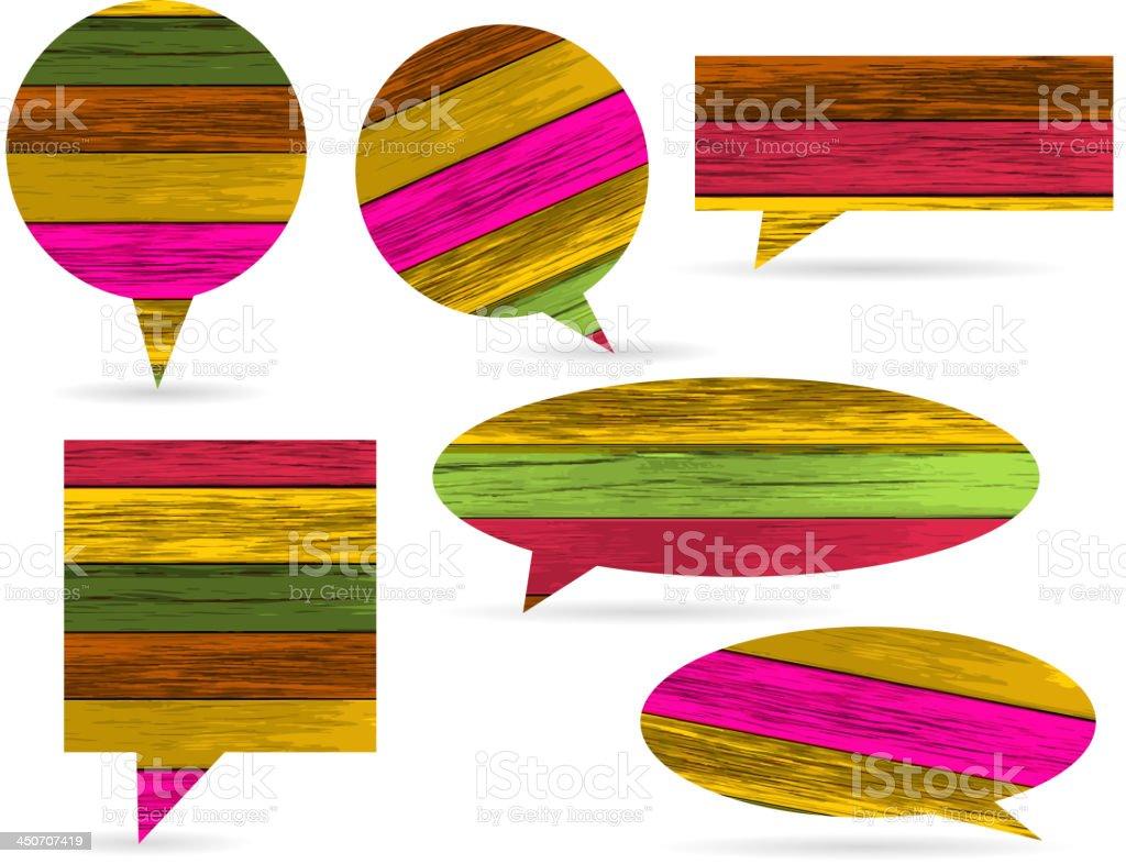 Vector colorful wooden speech bubble royalty-free stock vector art