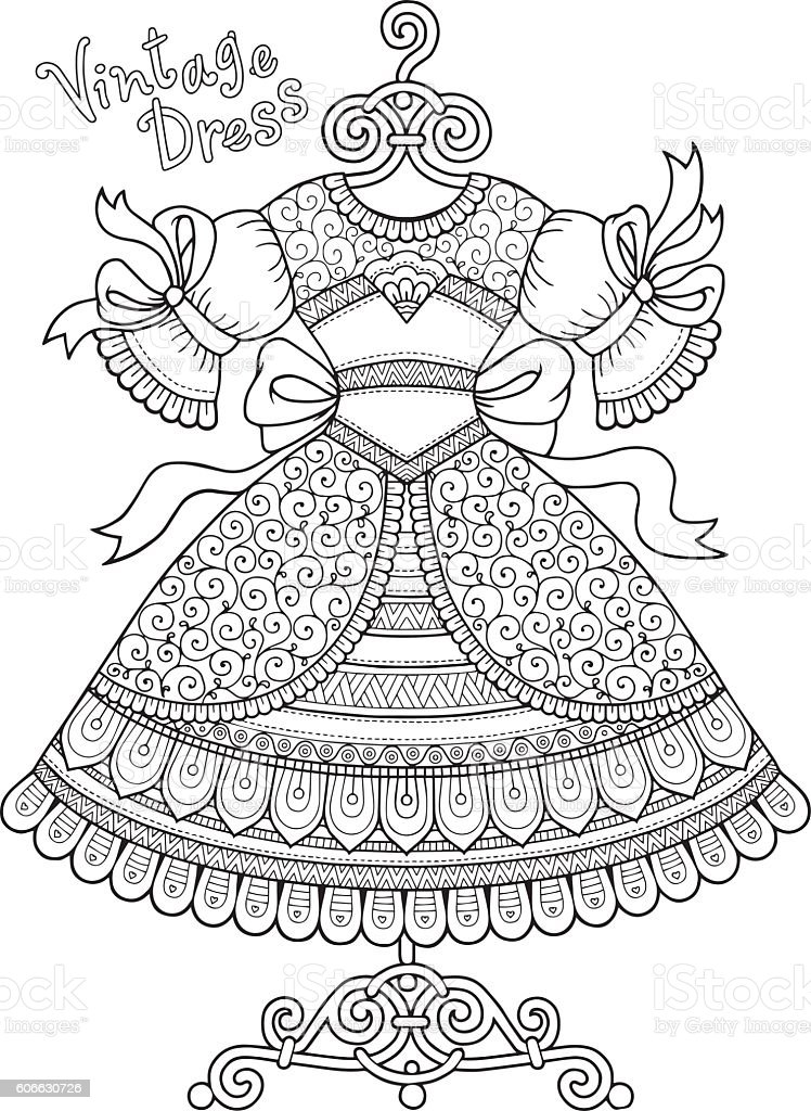 vector coloring book for adult vintage dresses stock vector art - Amish Children Coloring Book Pages