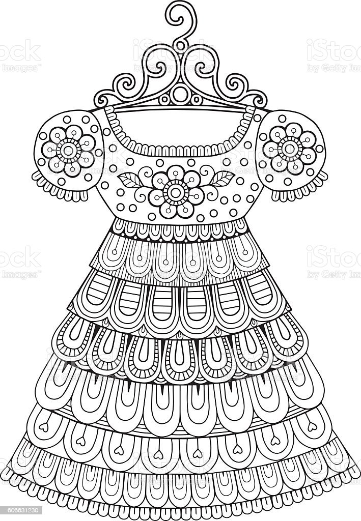 Vector Coloring Book For Adult. Vintage dresses vector art illustration