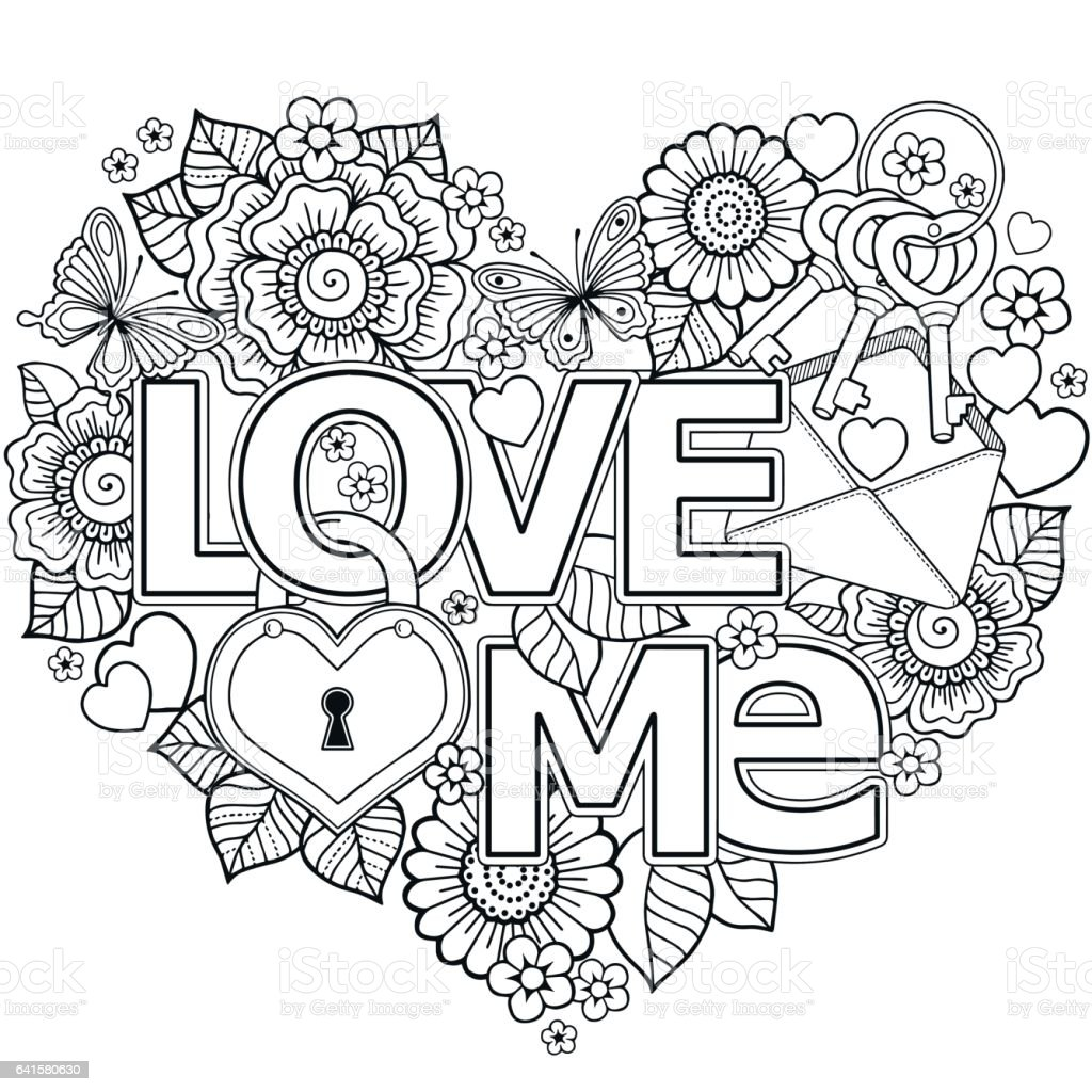 vector coloring page for adultheart made of abstract flowers