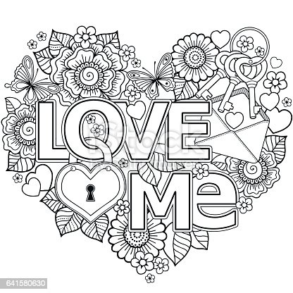 Vector Coloring Page For Adultheart Made Of Abstract ...