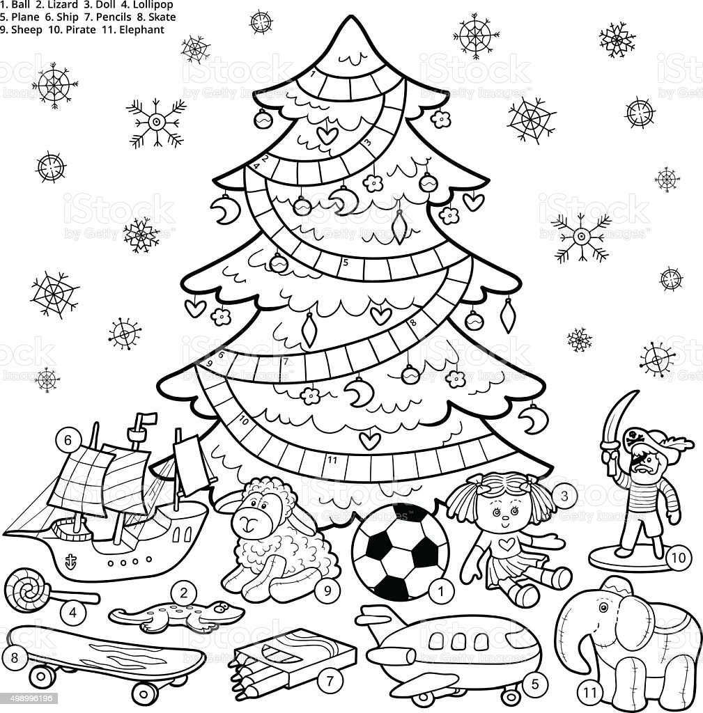 Vector colorless crossword, education game about Christmas presents vector art illustration