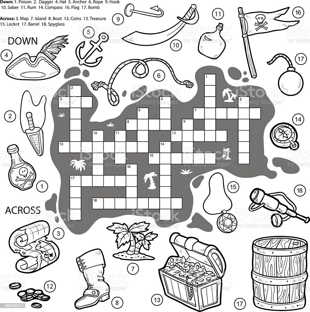 Game with shapes of different colors crossword - Vector Colorless Crossword Education Game For Children About Pi Royalty Free Stock Vector Art