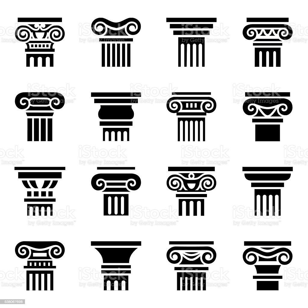 Vector Column icon set vector art illustration