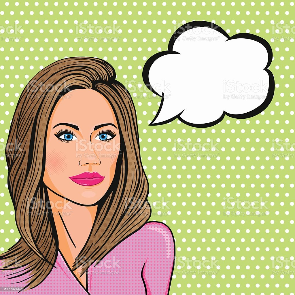 Vector comics pop art business lady smiling with thinking cloud vector art illustration