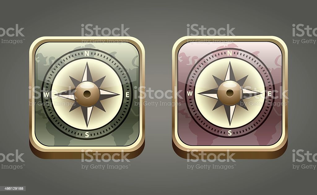 Vector compass icon in two colors vector art illustration