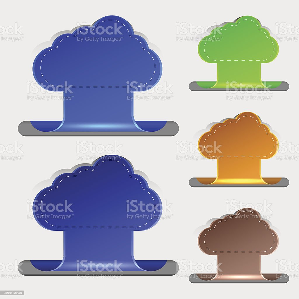 Vector computer clouds bookmarks. 5 colors. Eps10 royalty-free stock vector art