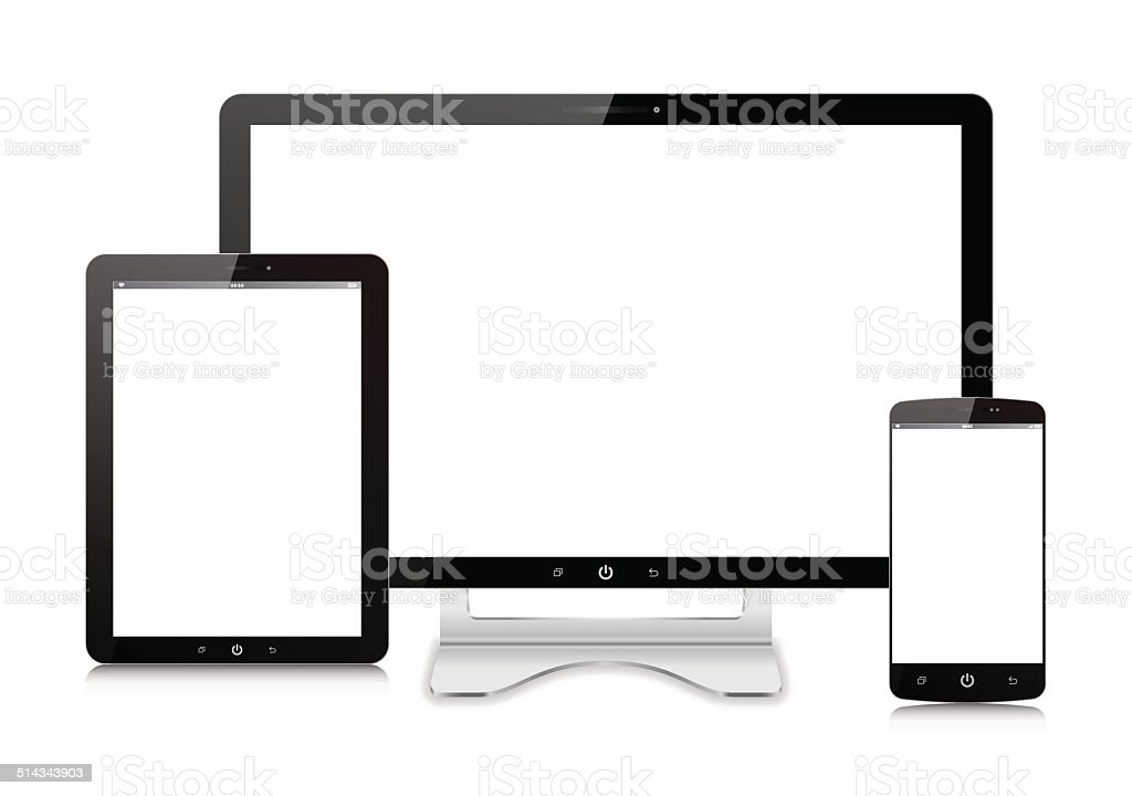 Vector Computer monitor,Digital Tablet and  Smart Phone isolated vector art illustration