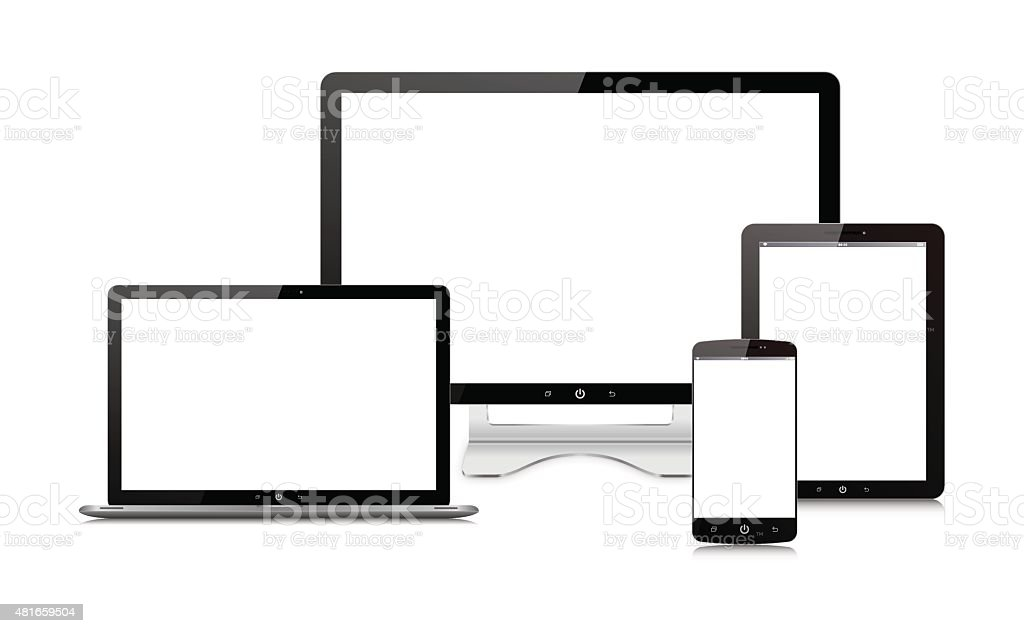 Vector Computer monitor,Digital Tablet, Smart Phone and laptop isolated vector art illustration