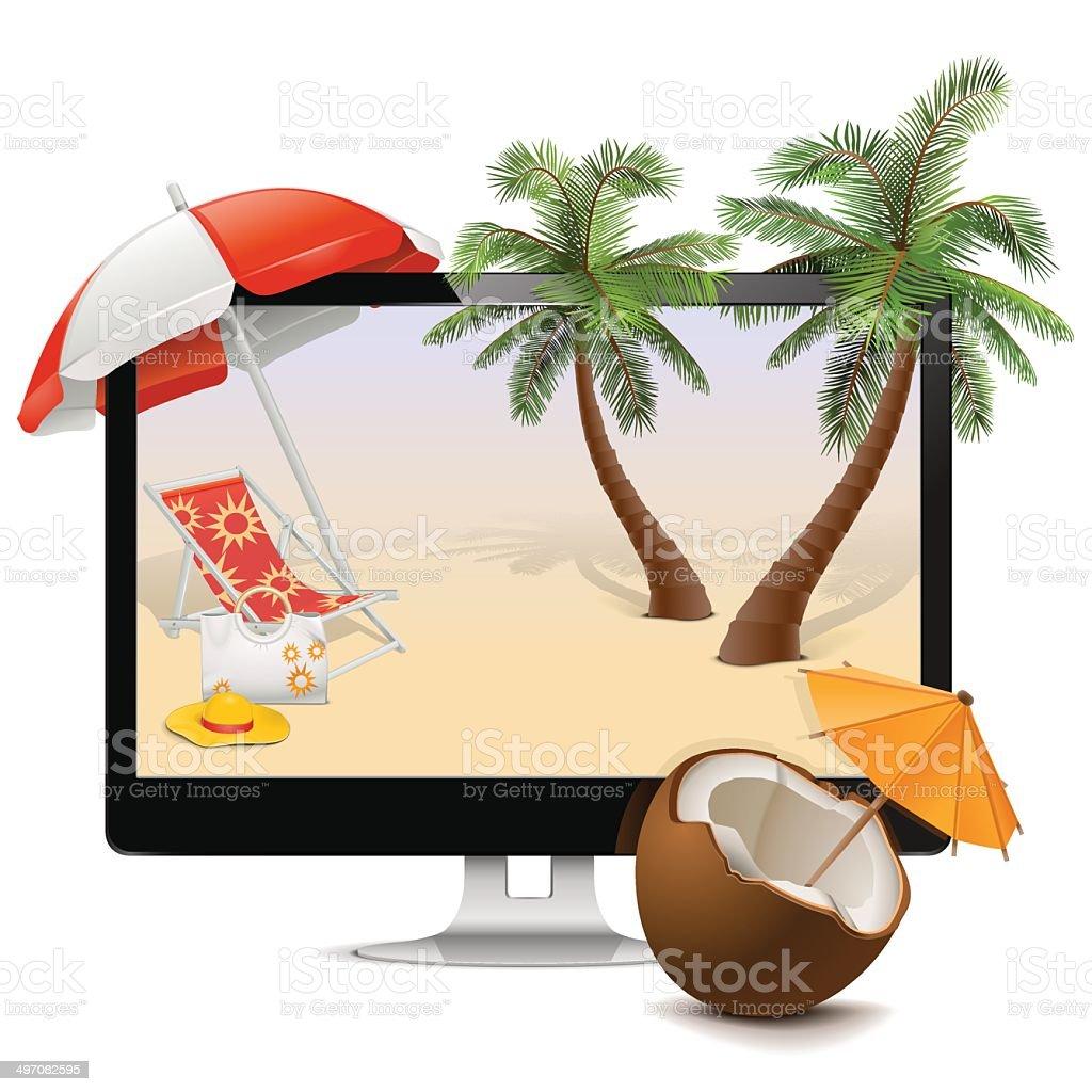 Vector Computer with Tropical Resort vector art illustration