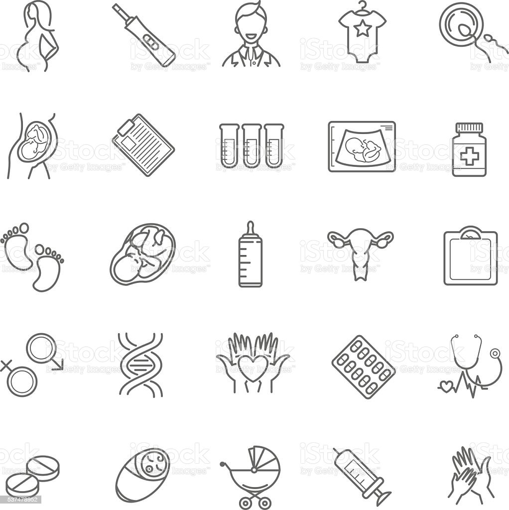 vector conceiving a child and pregnancy web icons. Healthy pregn vector art illustration