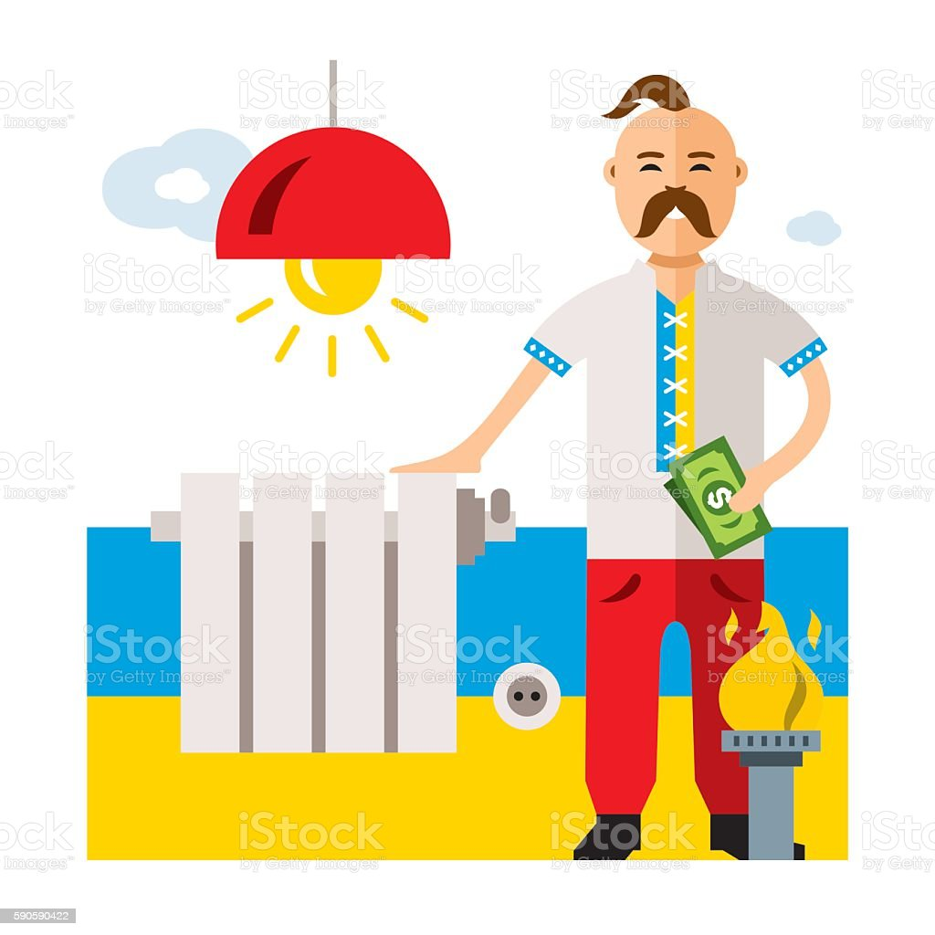 Vector Concept Energy of Ukraine. Flat style colorful Cartoon illustration. vector art illustration