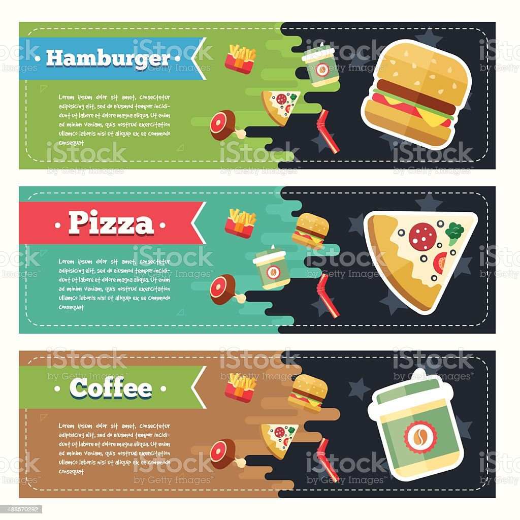Vector concept fast food flat banner set. Flayer, poster. Coffee vector art illustration