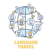 Vector concept for the language of tourism.