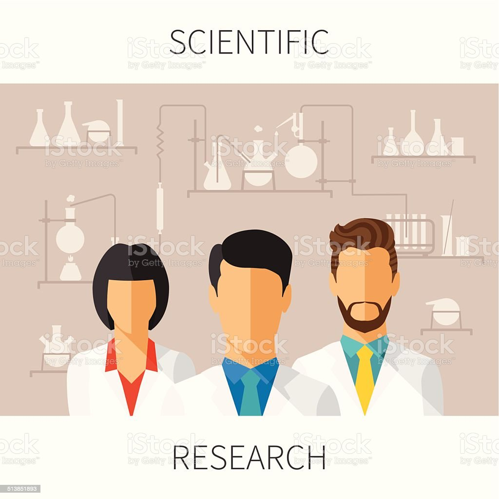 Vector concept illustration of scientific research vector art illustration