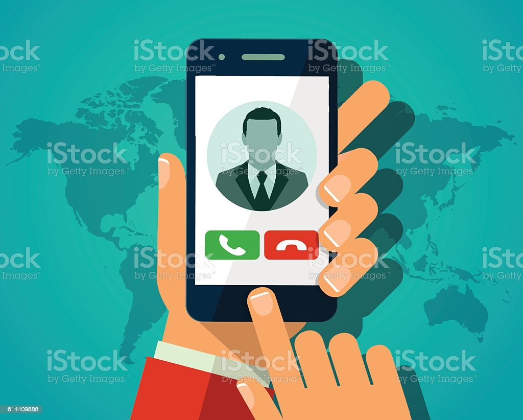 Vector concept incoming call. Hand holding smartphone vector art illustration