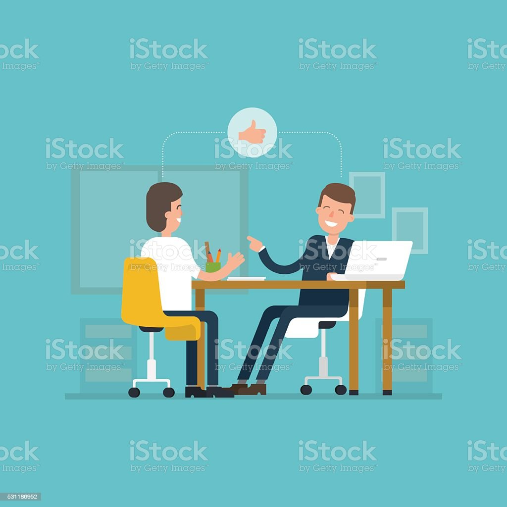 Vector concept interviews by the candidate in flat style. vector art illustration