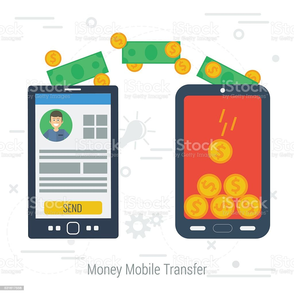 Vector concept mobile money transfering vector art illustration