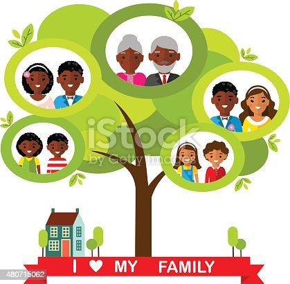 Vector Concept Of African American Family Tree stock ...
