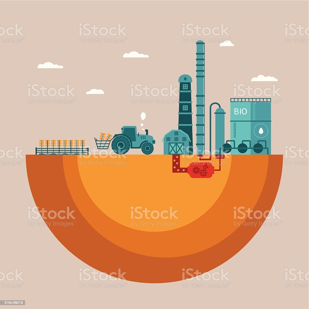 Vector concept of biofuels refinery plant for processing natural resources vector art illustration