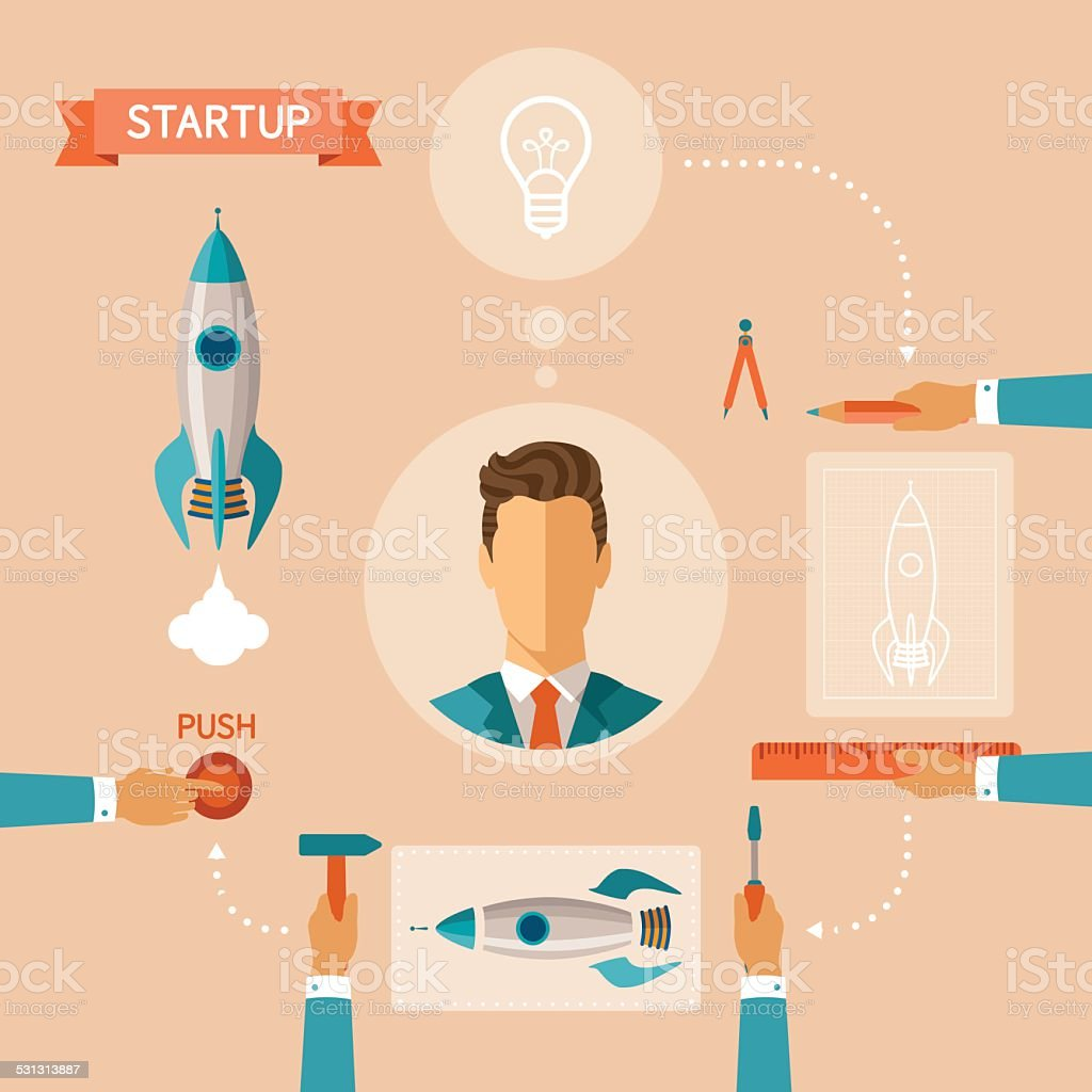 Vector concept of business startup vector art illustration