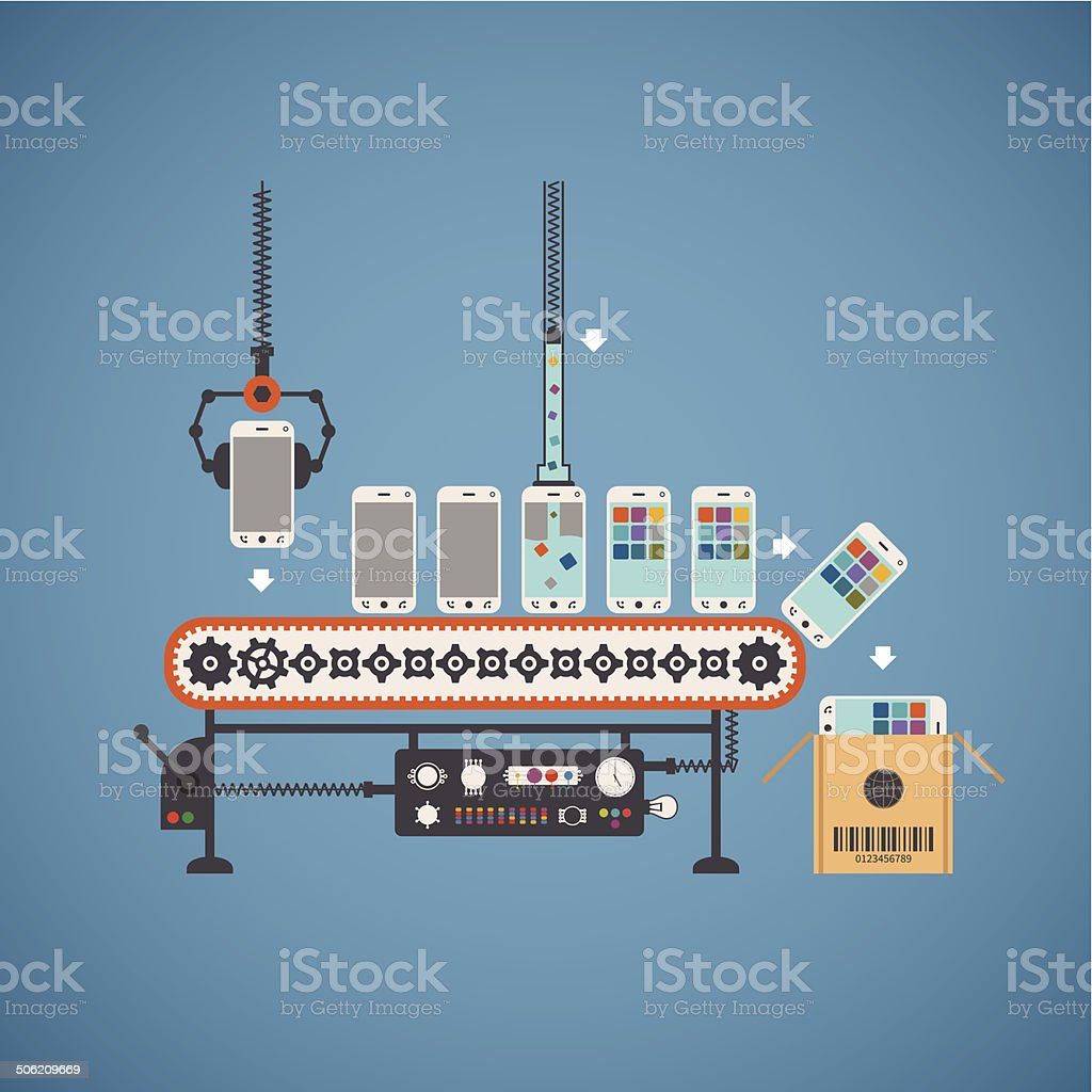 Vector concept of hardware and software production vector art illustration