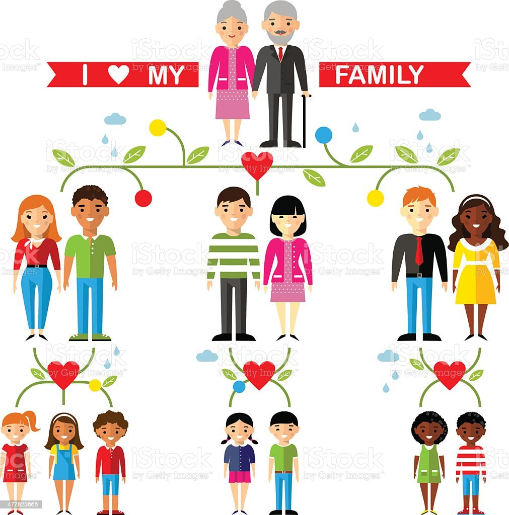 Vector concept of international family tree vector art illustration