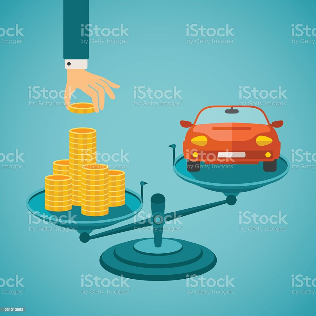 Vector concept of investment in individual transport vector art illustration