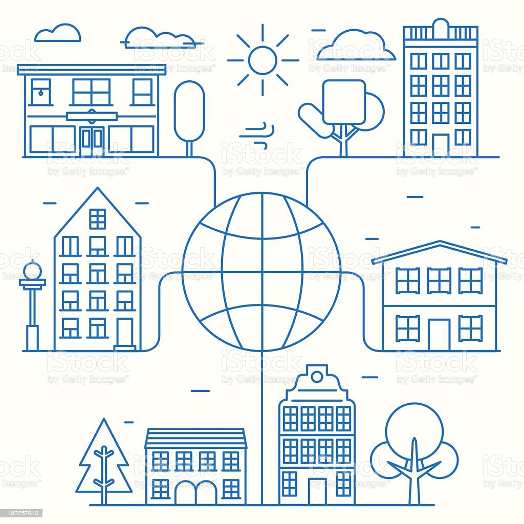 Vector concept of linear houses of world. Infographic city connection vector art illustration