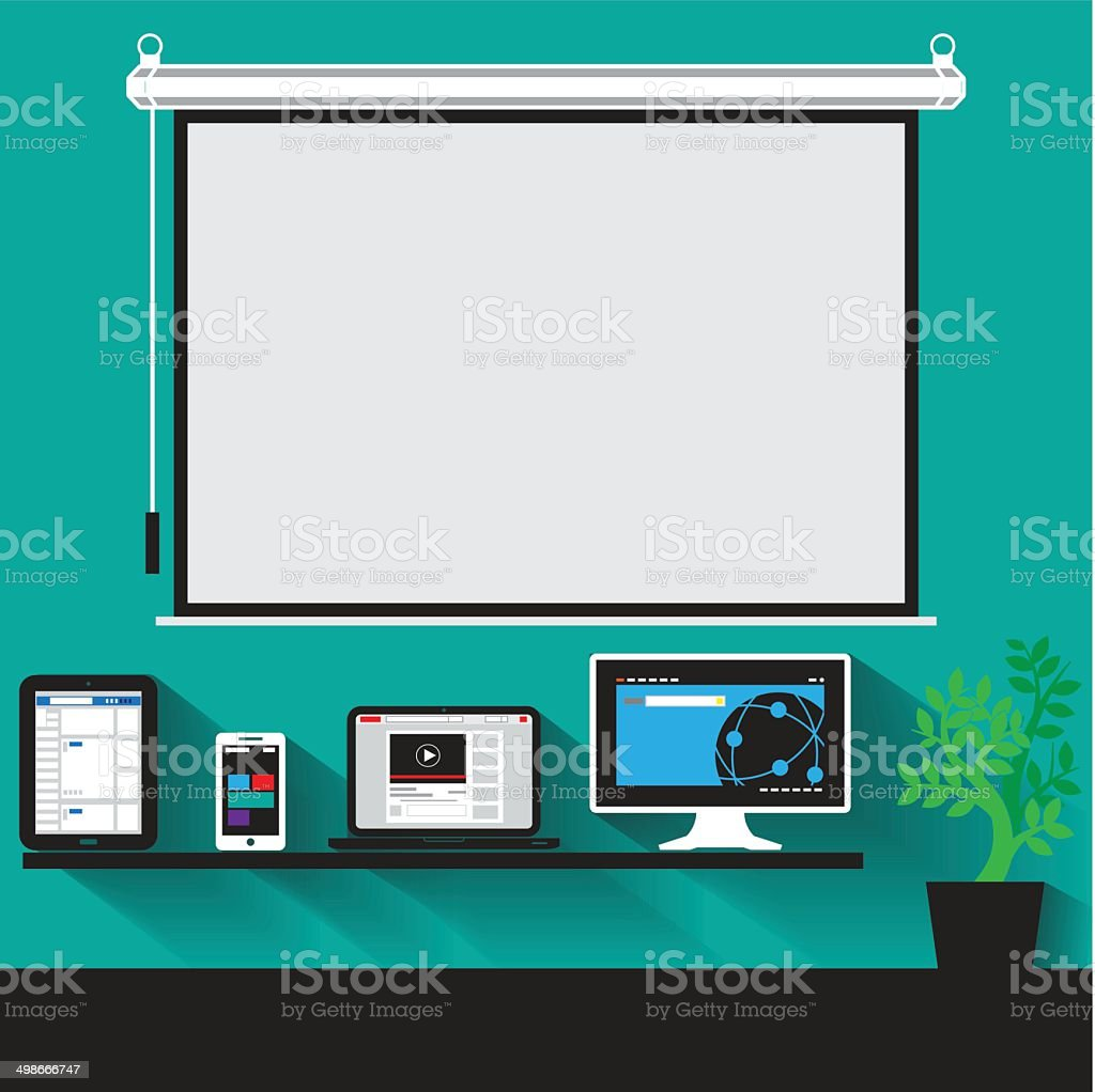 vector concept of modern business workspace vector art illustration
