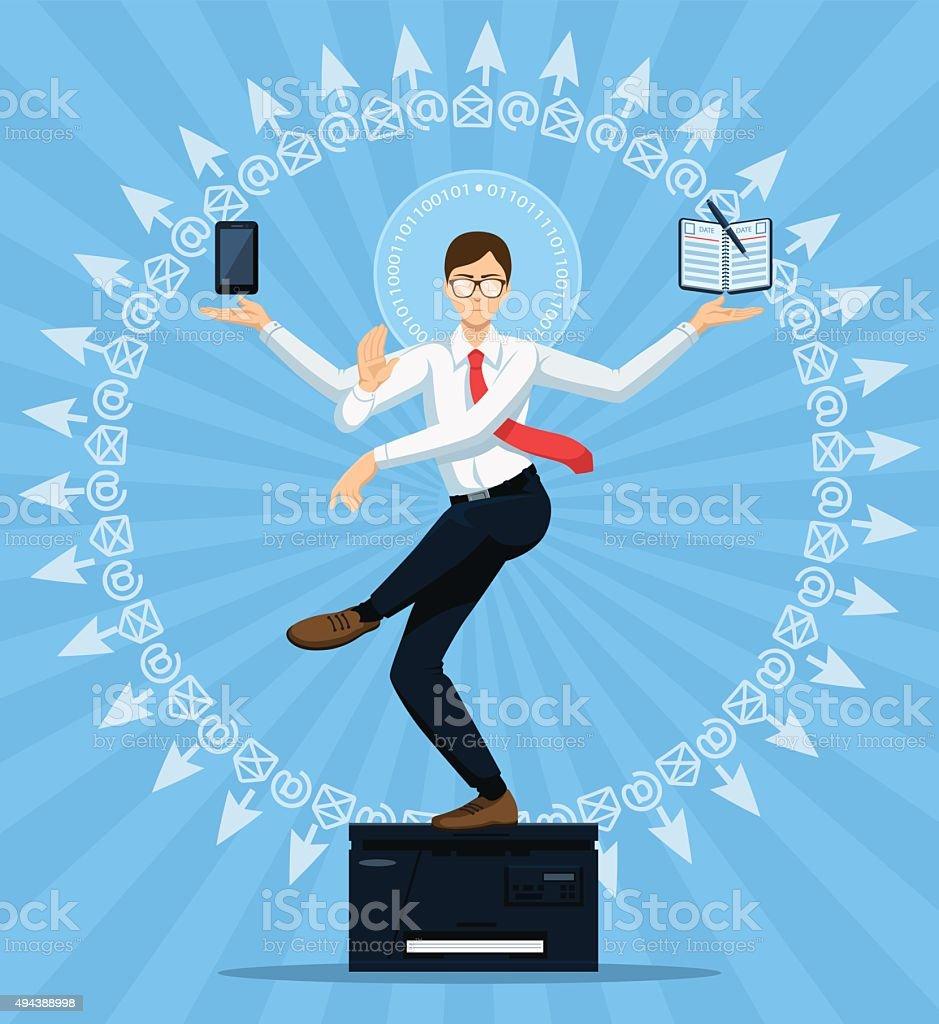 Vector. Concept of Office Shiva. vector art illustration