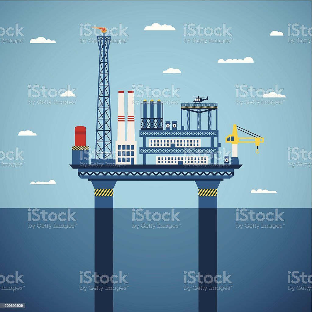 Vector concept of oil and gas offshore industry vector art illustration