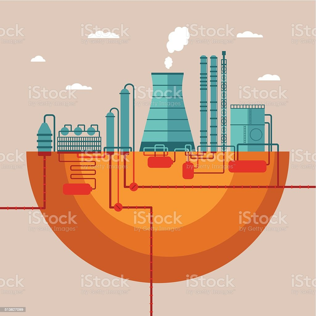 Vector concept of refinery plant for processing natural resources vector art illustration