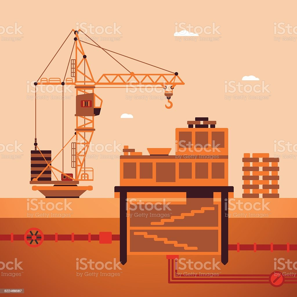 Vector concept of residential house construction process vector art illustration