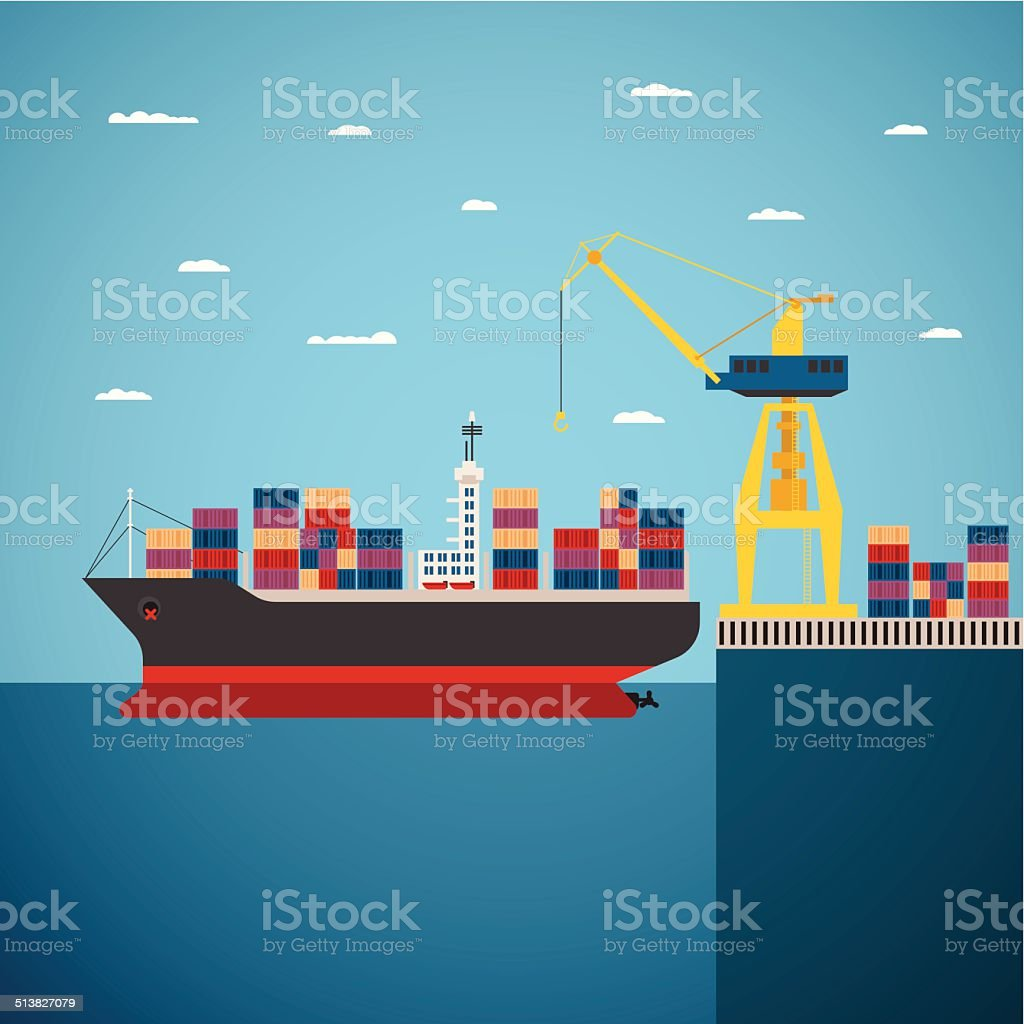 Vector concept of river ocean and sea freight shipping vector art illustration