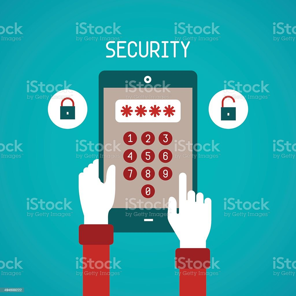 Vector concept of security system for mobile gadget vector art illustration