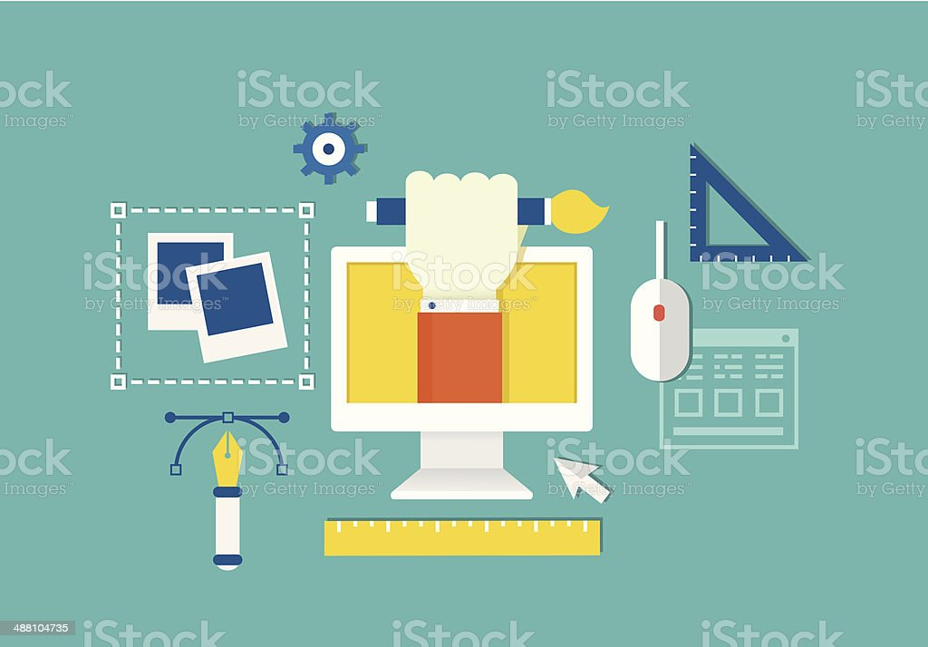 Vector concept of web design and devices for work vector art illustration