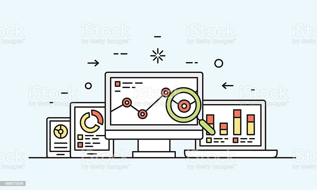 Vector concept of website analytics search information vector art illustration