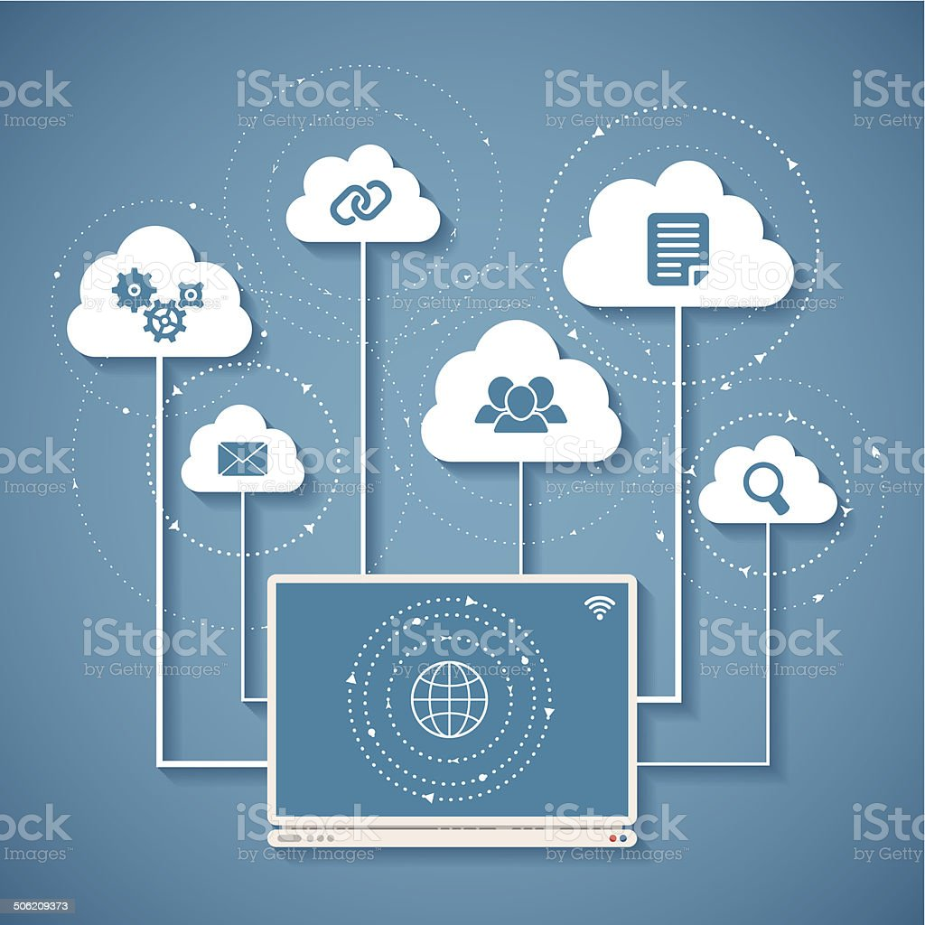 Vector concept of wireless cloud network and distributed computing vector art illustration