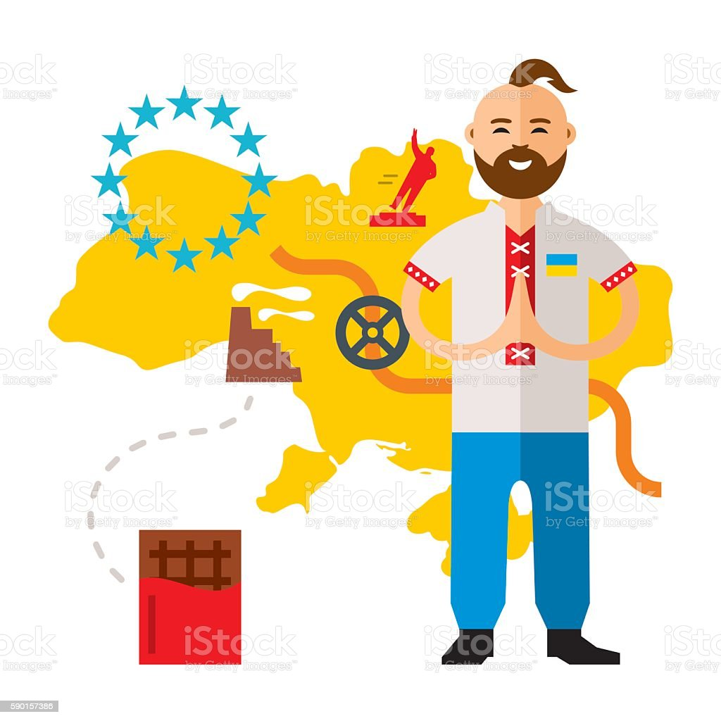 Vector Concept Ukraine crisis. Flat style colorful Cartoon illustration. vector art illustration