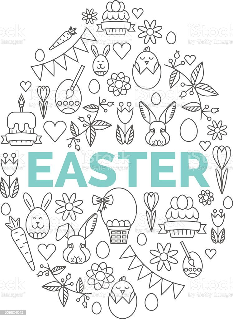 Vector concept with different Easter and Spring celebration elements. vector art illustration