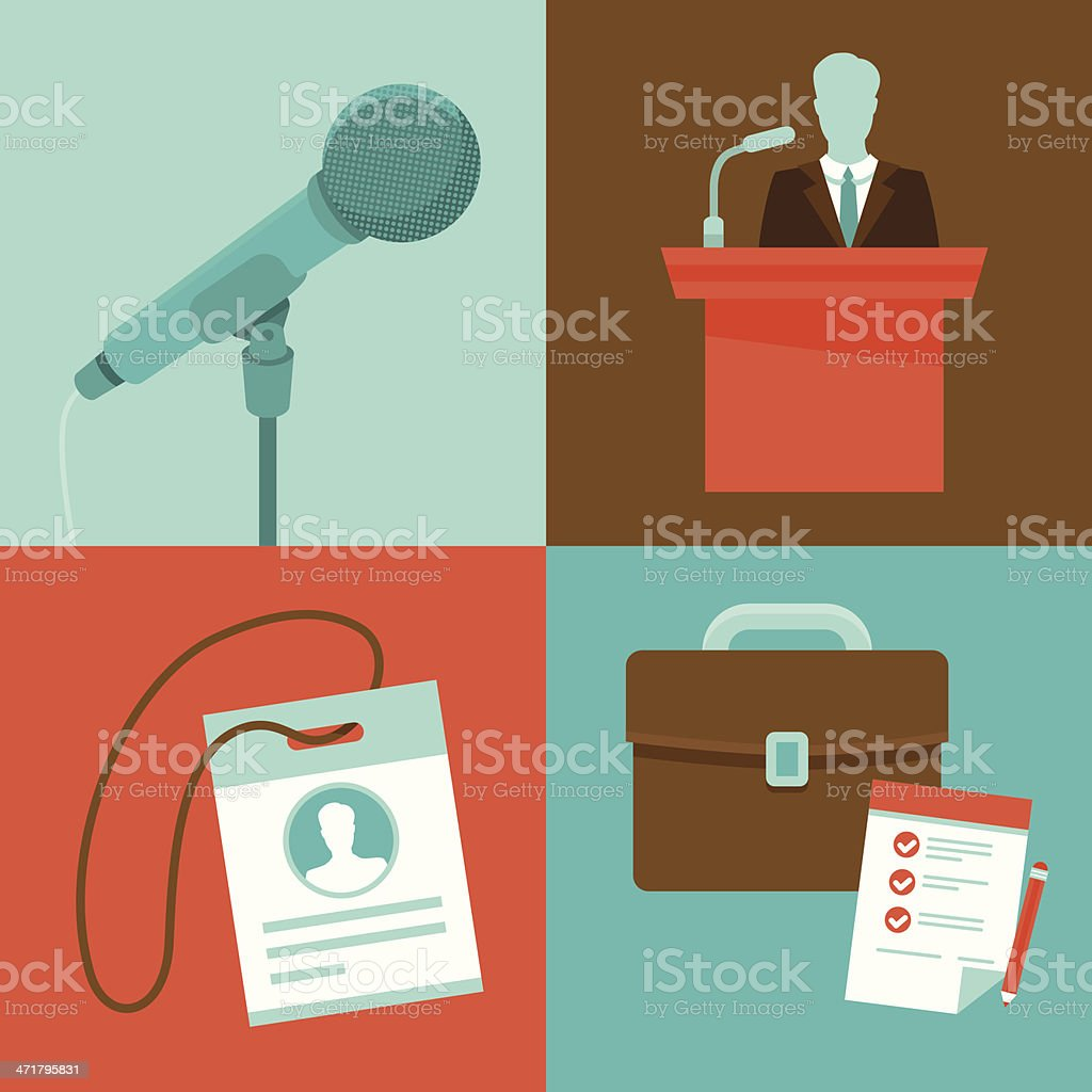 Vector conference concepts in flat style vector art illustration