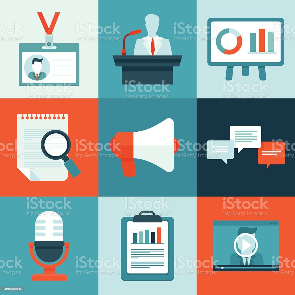 Vector conference icons in flat style vector art illustration