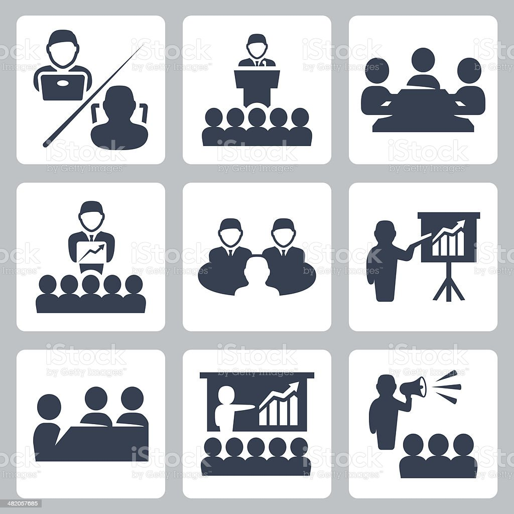 Vector conference, meeting icons set vector art illustration