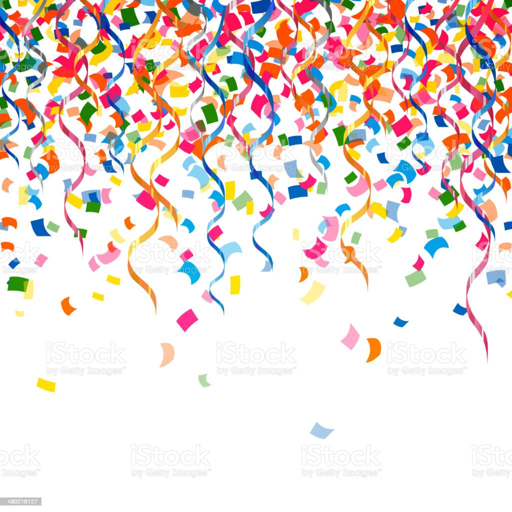 Vector Confetti and Curly Ribbons vector art illustration