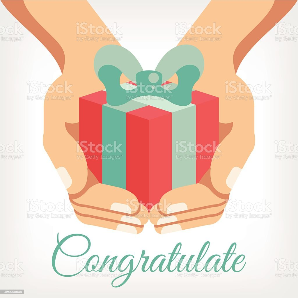 Vector congratulation flat illustration with gift box in hands vector art illustration