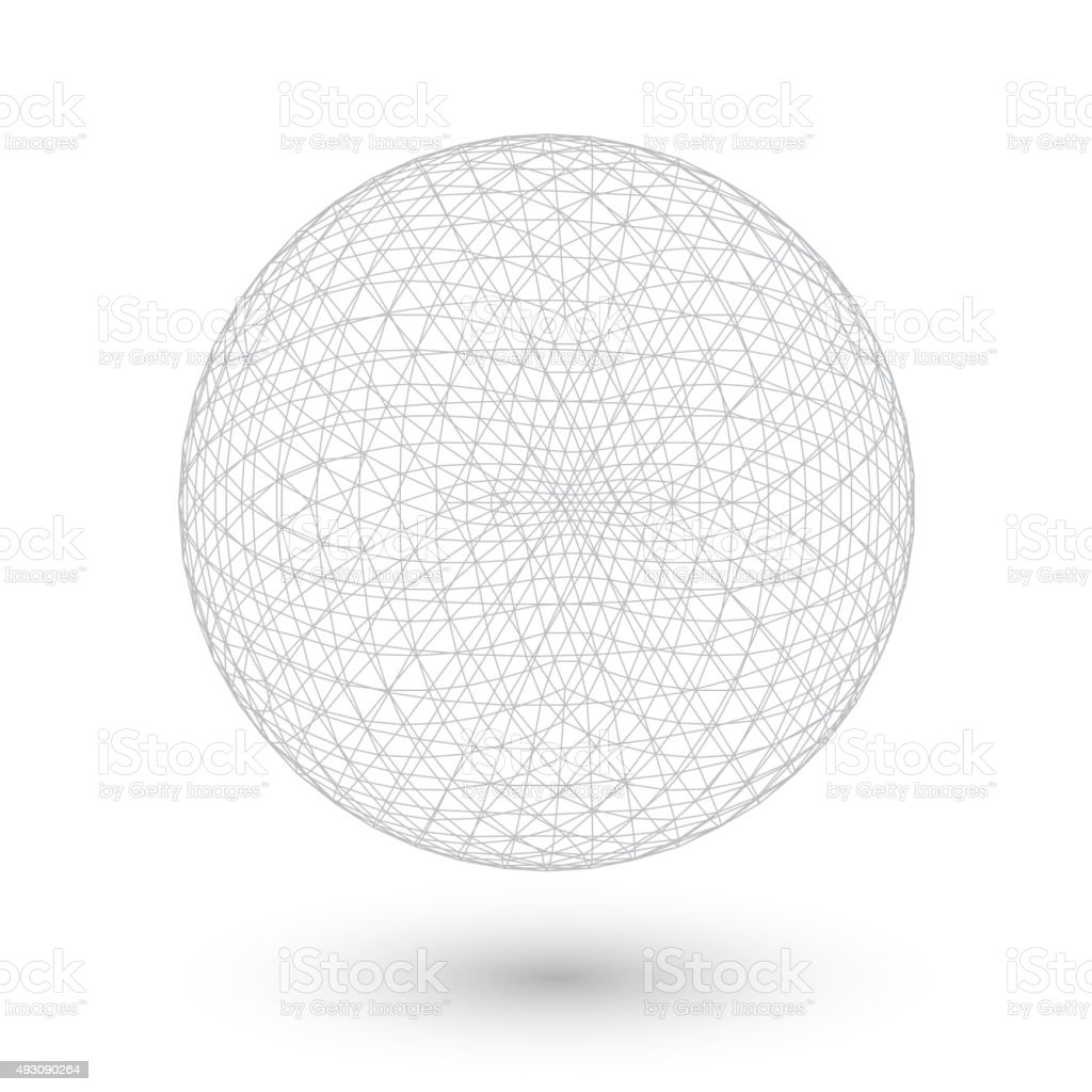 Vector Connection Spirograph Wired Ball Isolated on White Backgr vector art illustration